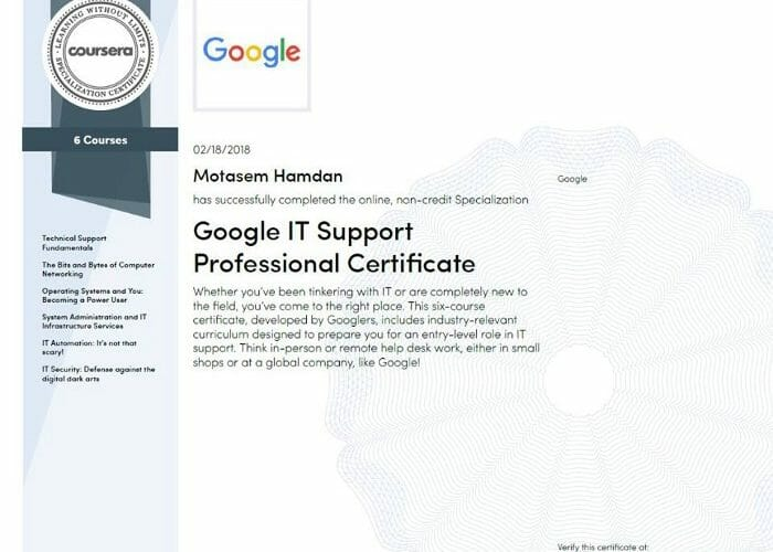 Google IT support Certificate Coursera - Motasem Hamdan