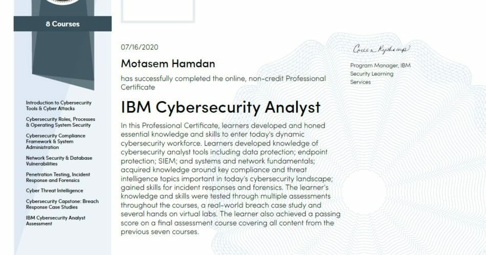 IBM Cyber Security Analyst Professional Certificate review Coursera