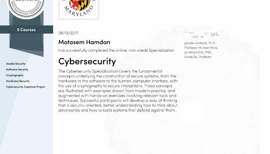 CyberSecurity Specialization Coursera and University of Maryland Review